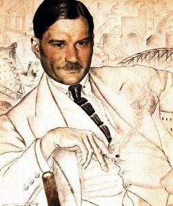 Boris Kustodiev, Portrait des Schriftstellers Evgenij Zamjatin. Zeichnung (1923)